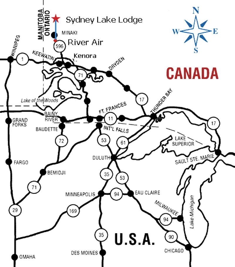 Map Of Kenora Canada.Canadian Fishing Camp Cabins Ontario Fishing Trips